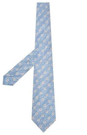 Мужской галстук из смеси льна и шелка KITON синего цвета, арт. UCRVKLC02G88 | Фото 2