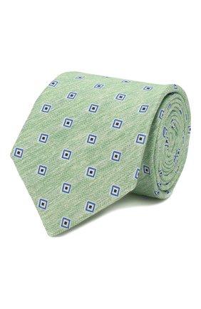 Мужской галстук из смеси льна и шелка KITON зеленого цвета, арт. UCRVKLC02G88 | Фото 1