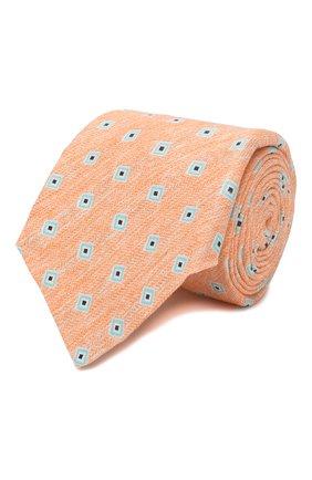 Мужской галстук из смеси льна и шелка KITON оранжевого цвета, арт. UCRVKLC02G88 | Фото 1