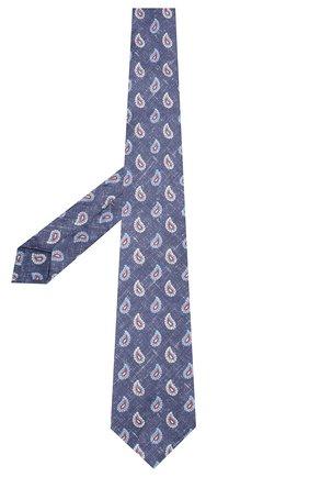 Мужской галстук из смеси шелка и льна KITON синего цвета, арт. UCRVKLC03G14 | Фото 2