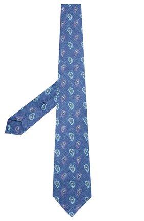 Мужской галстук из смеси шелка и льна KITON темно-синего цвета, арт. UCRVKLC03G14 | Фото 2