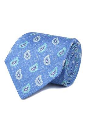 Мужской галстук из смеси шелка и льна KITON светло-голубого цвета, арт. UCRVKLC03G14 | Фото 1