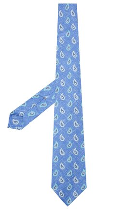 Мужской галстук из смеси шелка и льна KITON светло-голубого цвета, арт. UCRVKLC03G14 | Фото 2