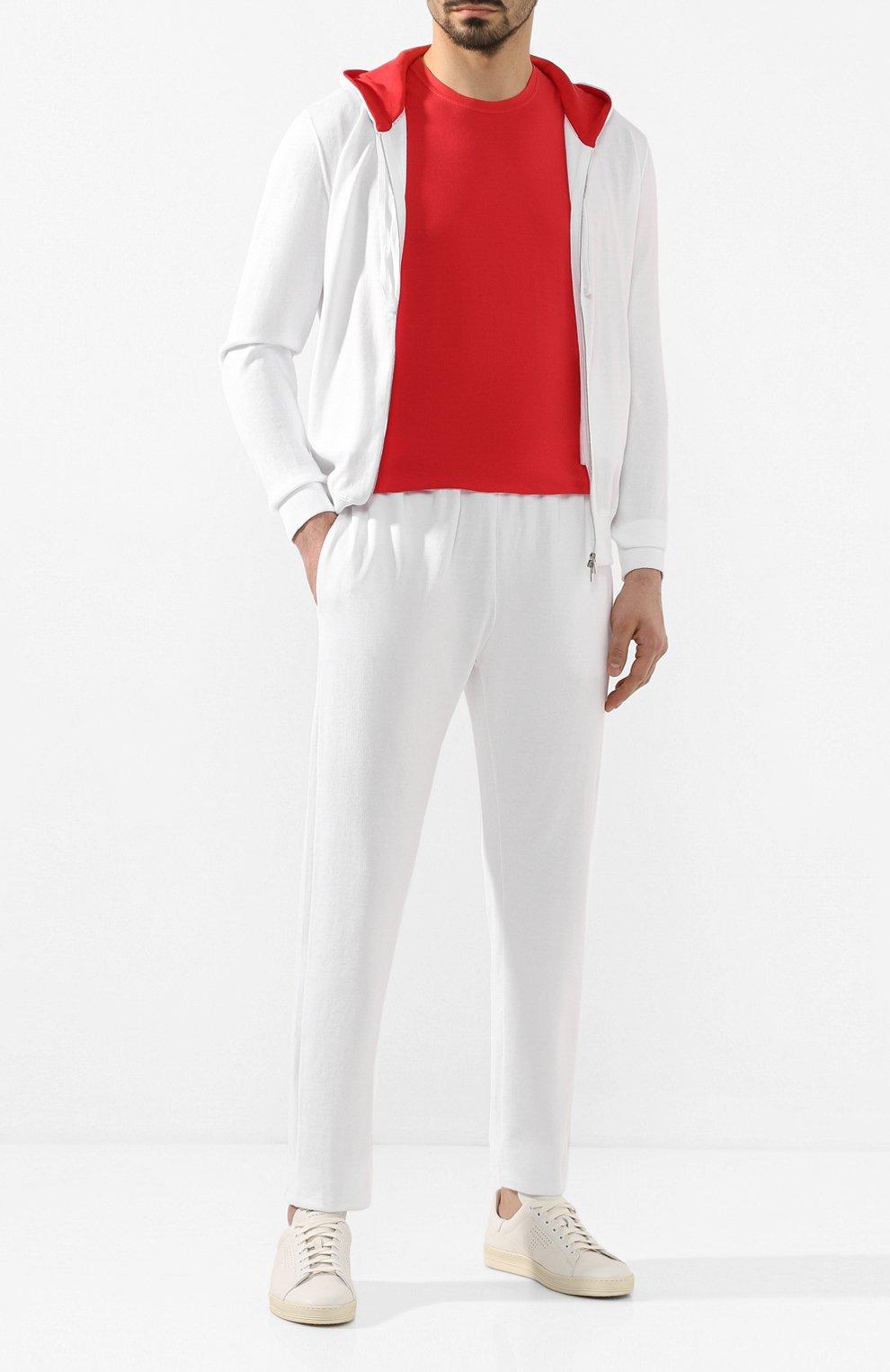 Мужские хлопковые брюки KITON белого цвета, арт. UK1051   Фото 2