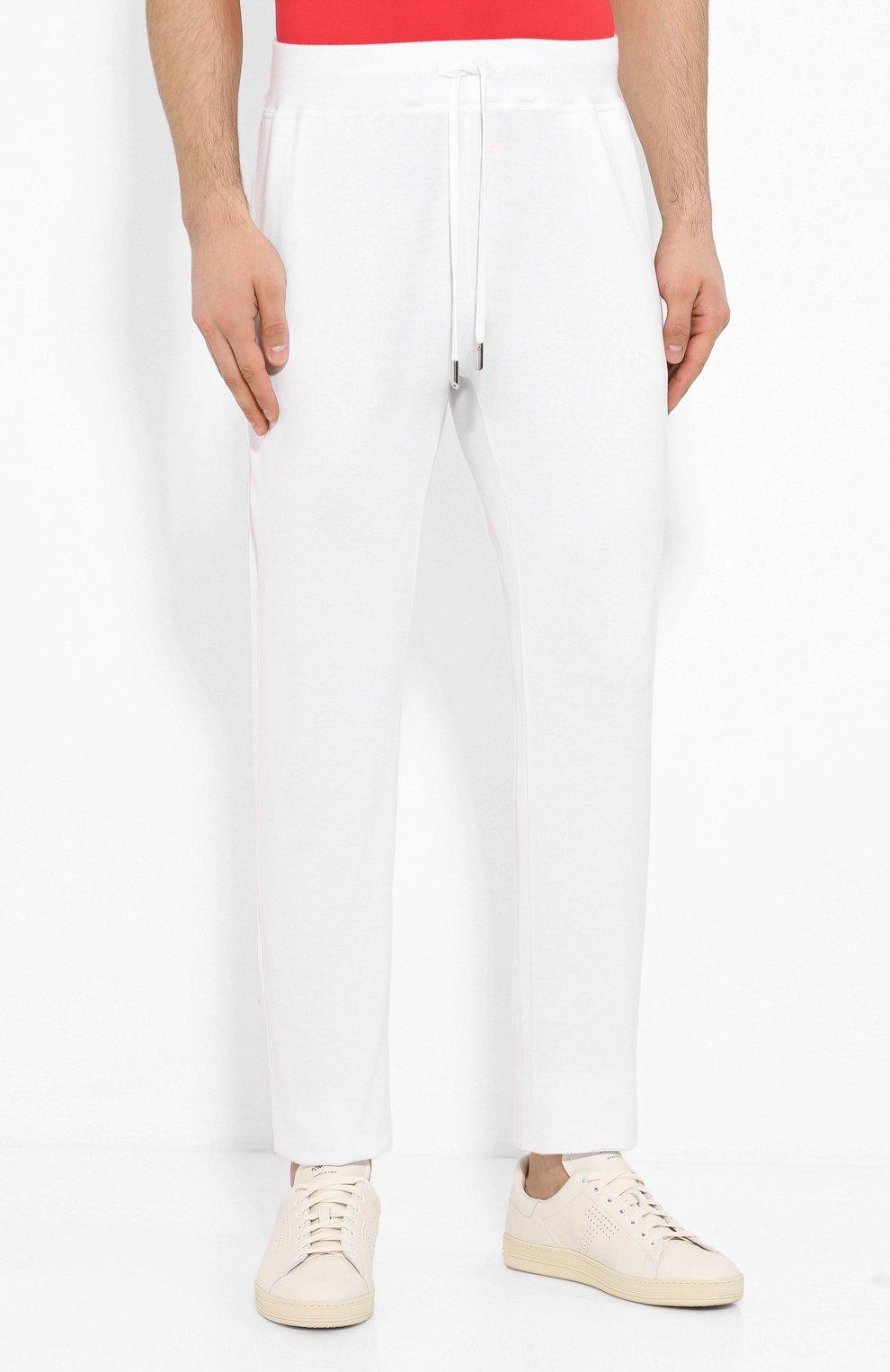 Мужские хлопковые брюки KITON белого цвета, арт. UK1051   Фото 3