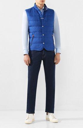 Мужская хлопковая рубашка KITON голубого цвета, арт. UMCNERH0721702   Фото 2