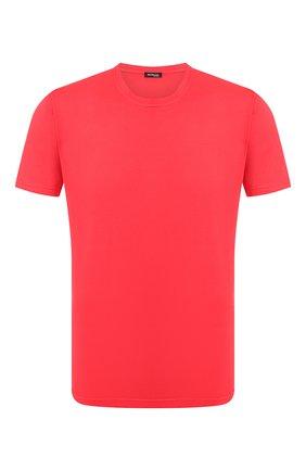 Мужская футболка из смеси хлопка и кашемира KITON красного цвета, арт. UMK0012   Фото 1