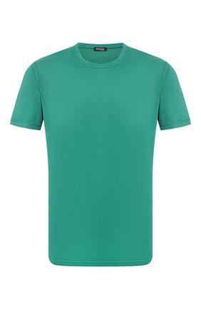 Мужская футболка из смеси хлопка и кашемира KITON зеленого цвета, арт. UMK0012 | Фото 1 (Длина (для топов): Стандартные; Рукава: Короткие; Материал внешний: Хлопок; Принт: Без принта; Стили: Кэжуэл)