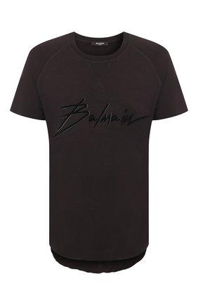 Мужская футболка из вискозы BALMAIN черного цвета, арт. TH11252/I236 | Фото 1