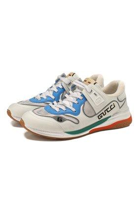 Мужские комбинированные кроссовки ultrapace GUCCI белого цвета, арт. 592345/02JM0 | Фото 1