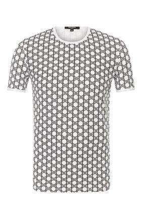Мужские хлопковая футболка BALMAIN черно-белого цвета, арт. BRM4A5040 | Фото 1