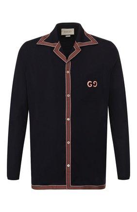 Мужская хлопковая рубашка GUCCI темно-синего цвета, арт. 574087/XJA6D   Фото 1