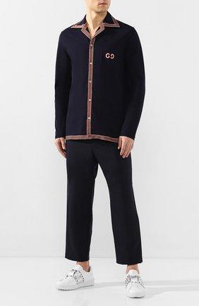 Мужская хлопковая рубашка GUCCI темно-синего цвета, арт. 574087/XJA6D   Фото 2