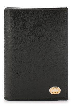 Мужская кожаная обложка для паспорта GUCCI черного цвета, арт. 597673/1GZ0X | Фото 1