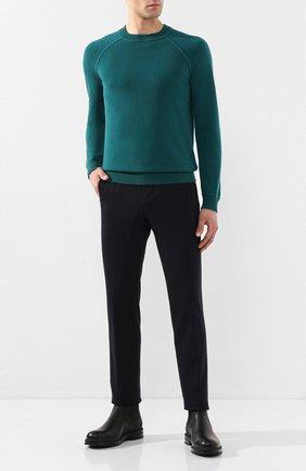 Мужской брюки из смеси шерсти и хлопка LORO PIANA темно-синего цвета, арт. FAL0410 | Фото 2