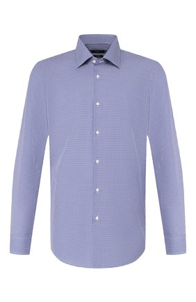Мужская хлопковая сорочка BOSS синего цвета, арт. 50421638 | Фото 1