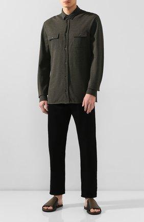 Мужские кожаные шлепанцы BOTTEGA VENETA зеленого цвета, арт. 474941/VT040   Фото 2
