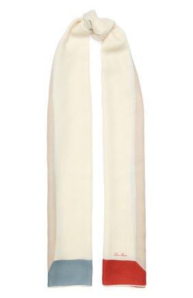 Женская шарф l'infinito из смеси кашемира и шелка LORO PIANA белого цвета, арт. FAI0969 | Фото 1