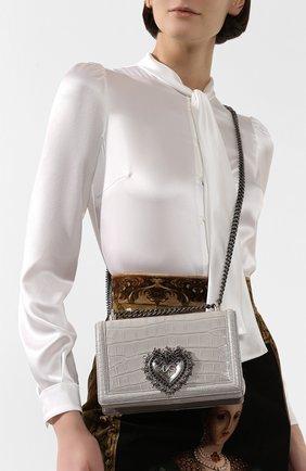 Женская сумка devotion small из кожи аллигатора DOLCE & GABBANA светло-серого цвета, арт. BB6652/B2DH3/AMIS | Фото 2
