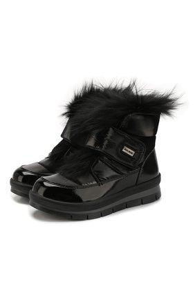 Женские текстильные ботинки JOG DOG черного цвета, арт. 14056R/DR_ZAFFIR0FLASH/DYED FUR/W | Фото 1