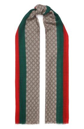 Мужские шерстяной шарф GUCCI бежевого цвета, арт. 600950/4G200   Фото 1