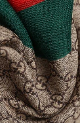 Мужские шерстяной шарф GUCCI бежевого цвета, арт. 600950/4G200   Фото 2