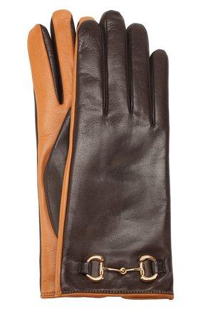 Женские кожаные перчатки GUCCI коричневого цвета, арт. 603635/3SA03 | Фото 1