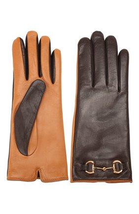 Женские кожаные перчатки GUCCI коричневого цвета, арт. 603635/3SA03 | Фото 2
