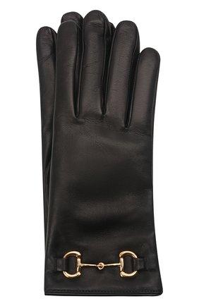 Женские кожаные перчатки GUCCI черного цвета, арт. 603635/BAP00   Фото 1 (Статус проверки: Проверена категория)