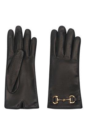 Женские кожаные перчатки GUCCI черного цвета, арт. 603635/BAP00   Фото 2 (Статус проверки: Проверена категория)