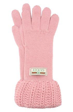Женские шерстяные перчатки GUCCI розового цвета, арт. 609396/3G206 | Фото 1