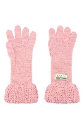 Женские шерстяные перчатки GUCCI розового цвета, арт. 609396/3G206 | Фото 2