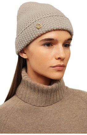 Женский кашемировая шапка LORO PIANA бежевого цвета, арт. FAE1298 | Фото 2