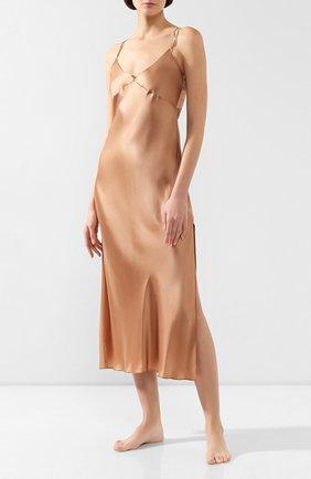 Женская шелковая сорочка LUNA DI SETA коричневого цвета, арт. VLST60540_9120 | Фото 2