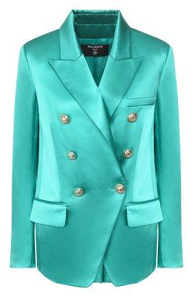 Женский шелковый жакет BALMAIN бирюзового цвета, арт. TF17112/190S | Фото 1