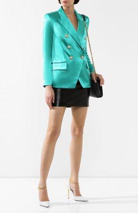 Женский шелковый жакет BALMAIN бирюзового цвета, арт. TF17112/190S | Фото 2
