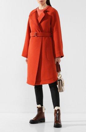 Женское шерстяное пальто CHLOÉ оранжевого цвета, арт. CHC20SMA06072   Фото 2