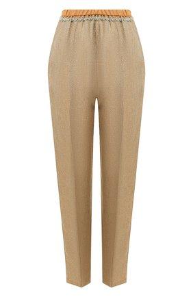 Женские брюки из смеси льна и вискозы FORTE_FORTE золотого цвета, арт. 7009 | Фото 1