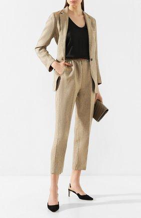 Женские брюки из смеси льна и вискозы FORTE_FORTE золотого цвета, арт. 7009 | Фото 2