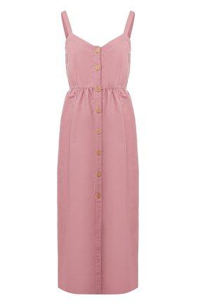 Женское платье из смеси хлопка и льна FORTE_FORTE фиолетового цвета, арт. 7025 | Фото 1