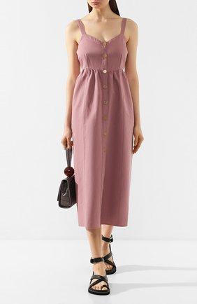 Женское платье из смеси хлопка и льна FORTE_FORTE фиолетового цвета, арт. 7025 | Фото 2
