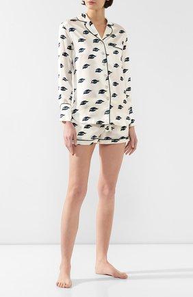 Женская шелковая пижама OLIVIA VON HALLE белого цвета, арт. PS2021 | Фото 1