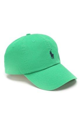 Мужской хлопковая бейсболка POLO RALPH LAUREN зеленого цвета, арт. 710673213 | Фото 1