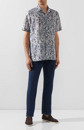 Мужская рубашка из смеси льна и хлопка BRIONI серого цвета, арт. SCCI0L/P9120 | Фото 2