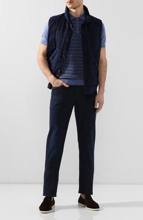 Мужское поло из смеси хлопка и шелка LUCIANO BARBERA синего цвета, арт. 109G34/53352   Фото 2
