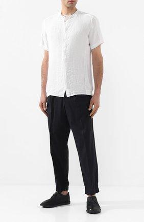 Мужская льняная рубашка TRANSIT белого цвета, арт. CFUTRKT291   Фото 2