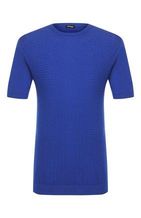 Мужской хлопковый джемпер KITON голубого цвета, арт. UK1045   Фото 1