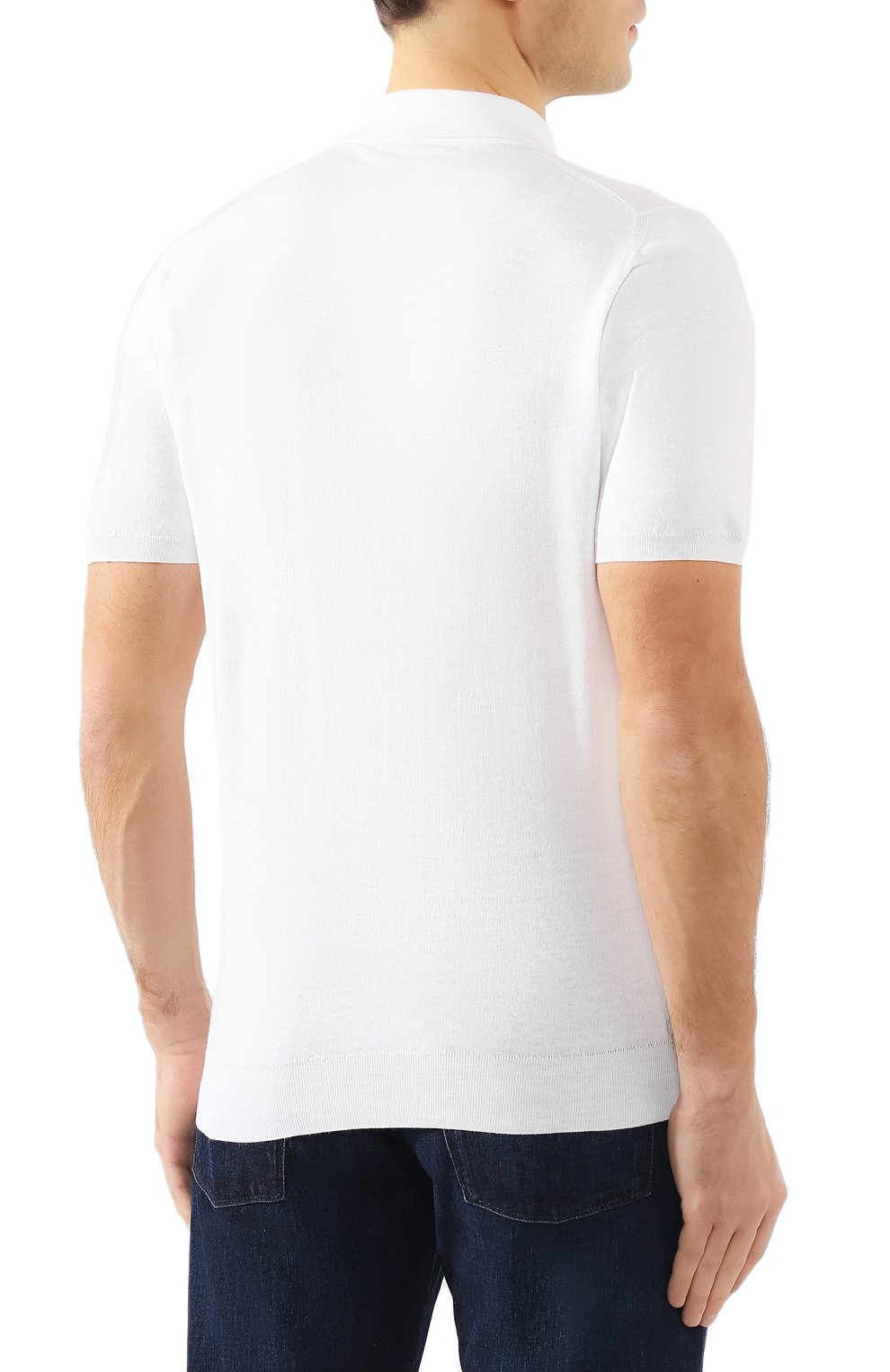 Мужское хлопковое поло KITON белого цвета, арт. UK33 | Фото 4