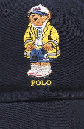 Мужской хлопковая бейсболка POLO RALPH LAUREN темно-синего цвета, арт. 710790285 | Фото 3