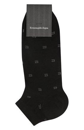 Мужские хлопковые носки ERMENEGILDO ZEGNA черного цвета, арт. N5V022800 | Фото 1